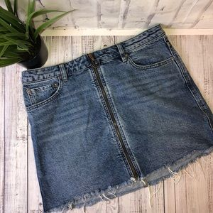 Free People front zip jean mini skirt. Size 30